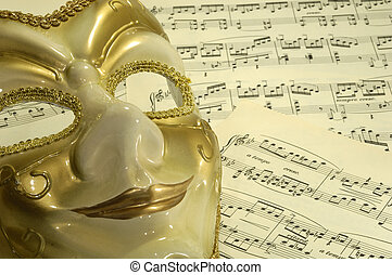 Opera - Photo of a Mask on Sheetmusic - Opera Theater...