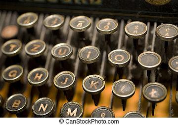 old typewrite - Antique typewriter series close-up brown