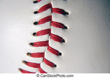 Baseball Macro - A white Baseball Macro with red stitching