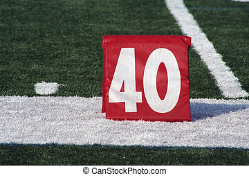 Football forty yard marker - A red Football forty yard...