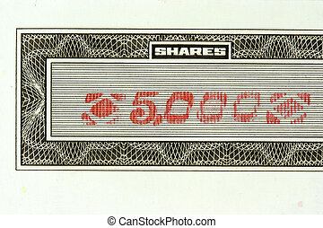 5000 shares - Close-up of authentic, vintage shares of an...