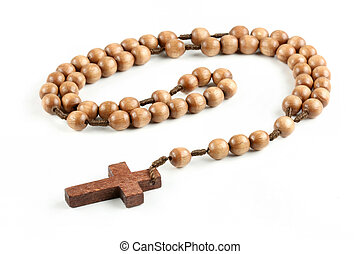 Isolated wooden rosary - Old, wooden rosary. Isolated...