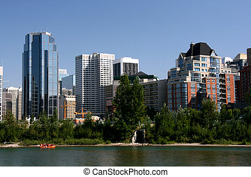 Calgary waterfront skyline - Calgary downtown skyline with...