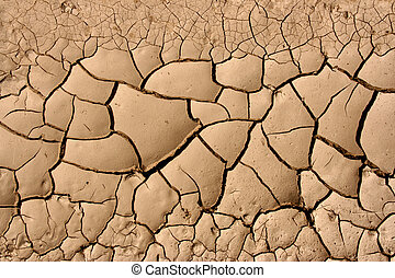 Desert background - Close-up of dry soil in arid climate....