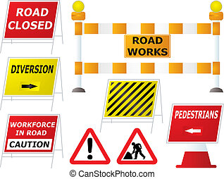 road works signs - Illustrated road works signs in different...