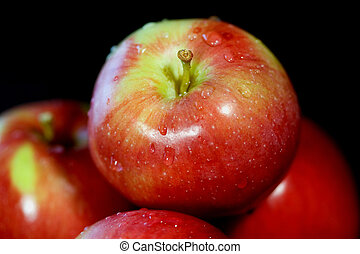 Health Food - Macro of glistening red apples