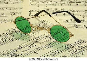 Sheetmusic - Photo of Sheetmusic and Vintage Glasses -...