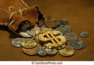 Sack of Money - Photo of a Leather Sack and Money - Money...