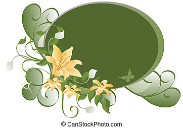 Floral Background - Peach and green flowers over oval...