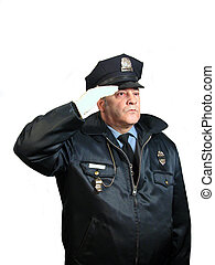 Police Salute is a photo of a uniformed police officer with...