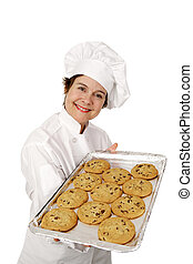 Hot Fresh Cookies - Chef offering a tray of hot fresh...