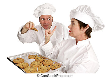No Cookies For You - Stern chef refusing a cookie to her...
