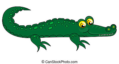 Crocodile clip-art. - Crocodile clip-art, green over white...