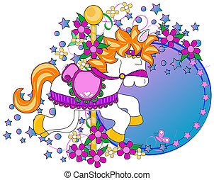 Carousel horse graphic with flowers,stars and copy space...