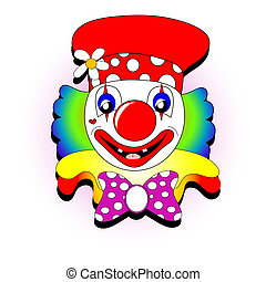 Clown illustration - Colorful happy clown face over a white...