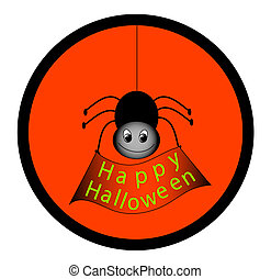 Happy Halloween - Spider holding Happy Halloween sign...