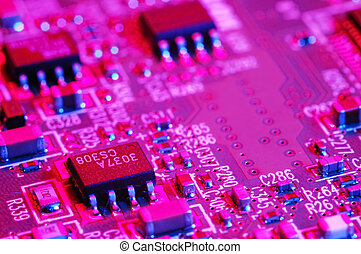 CIRCUITBOARD - Close-up photo of computer circuit board;...
