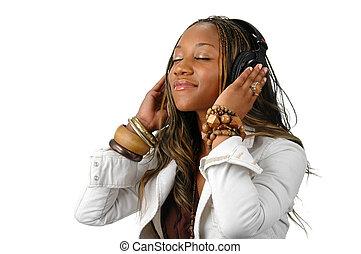 joven, mujer, con, auriculares