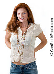 Everyday fashion - Attractive red hair woman wearing casual...