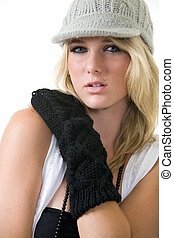 Woman in knit hat - Face of a cute blond hair young woman...