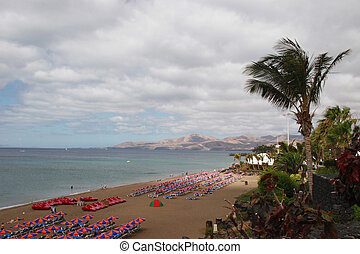 beach scene - a view of a  lanzarote beach