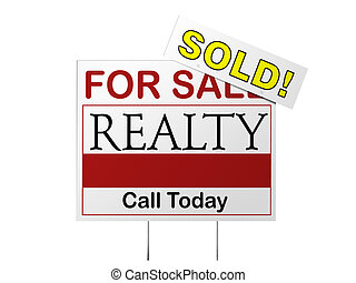 Sold Sign - Real estate for sale sign with a prominent SOLD...