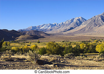 Morning Sun on Californias Sierra Nevada - panoramic fall...