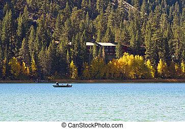 Mountain Lake with Fishing Boat