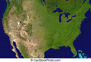 A satellite map of USA and neighboring countries with the...