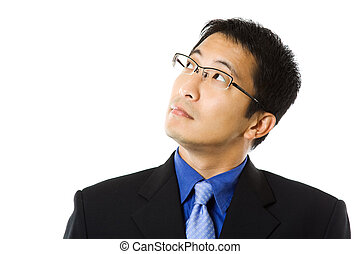 Businessman - An isolated shot of a businessman looking up