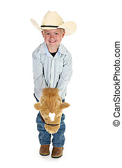American Cowboy - Little American cowboy with toy horse No...