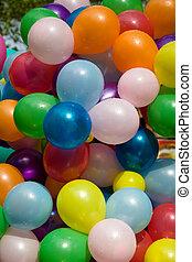 balões, colorido, ar