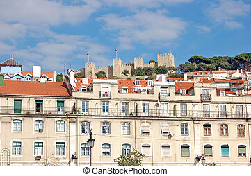 Lisbon - Vien on Lisbon with the castle on the hill