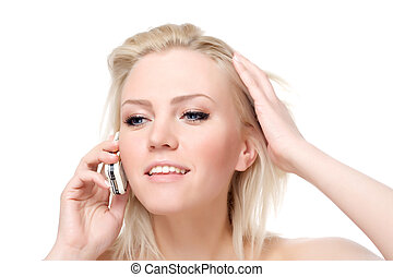 calling by phone - young attractive woman calling by phone,...