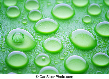 waterdrops - waterdorps on green hydrophobic surface,...