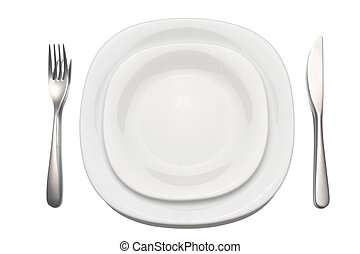 place setting over white background