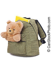 Packaged schoolbag with book and teddy bear in pocket,...