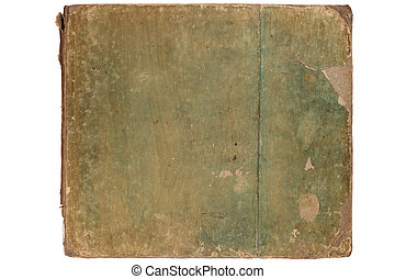 Cover of old book - Ragged cover of old book, isolated on...