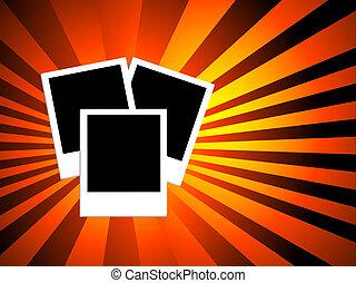 polaroid background - Polaroids on starburst background
