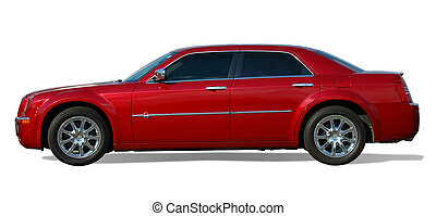 Red Sedan Car - Sedan luxury car isola