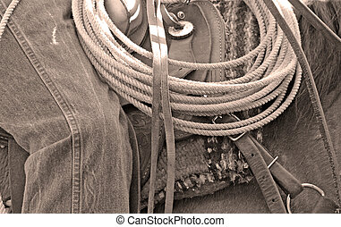 Cowboy Ropes - Cowboy ropes on the saddle with horse and...