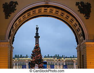 New Years Petersburg - New Years Palace Square through the...