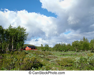 Mountain Hut - A Red Mountain Hut Surrounded by Scrubland