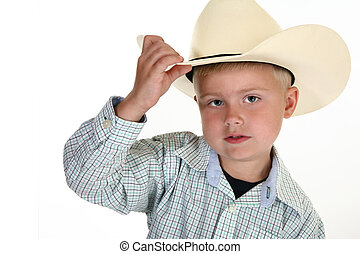 American Cowboy - Little American cowboy close up with hat....