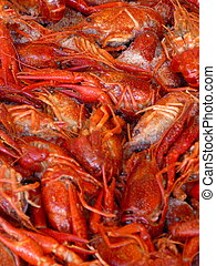 Red Crawfish - Pile of fresh red crayfish on ice