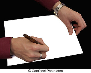 Hands on a paper