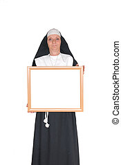 Advertising nun, sister - Middle aged smiling nun with...