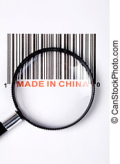 Made in China and barcode, business concept