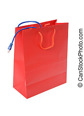 Shopping Bag - Isolated Shopping Bag and network cable,...