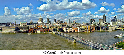 Millennium bridge panorama - Panorama of Millennium bridge...